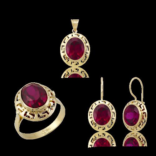 Altın Grek Yakut (Ruby) Renk Üçlü Set