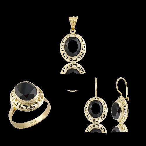 Altın Grek Siyah Renk Üçlü Set
