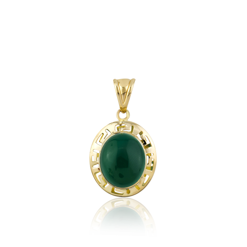 Altın Grek Yeşil Akik Renk Kolye