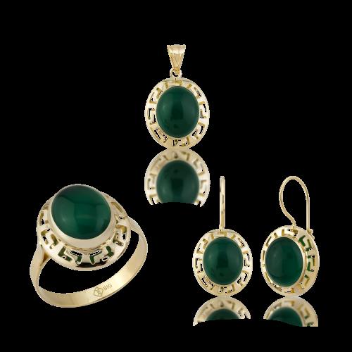 Altın Grek Yeşil Akik Üçlü Set
