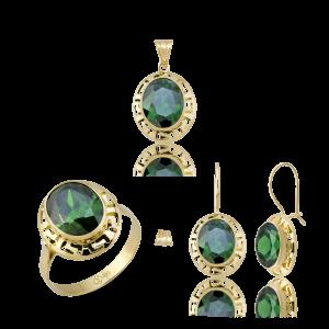 Altın Grek Zümrüt Yeşili Üçlü Set