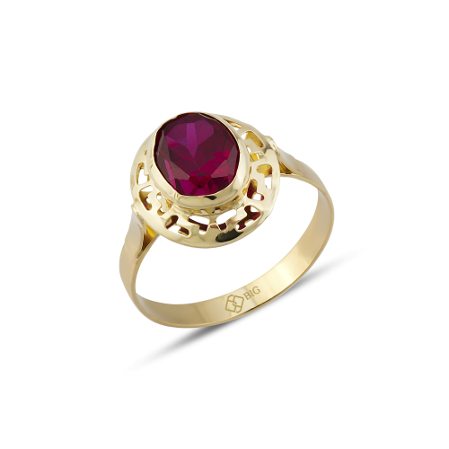 Altın Grek Ruby Renk Yüzük 8x10 mm