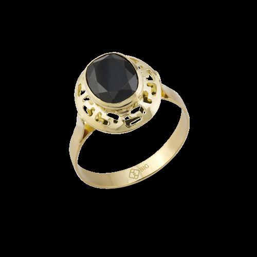 Altın Grek Siyah Renk Yüzük 8x10 mm