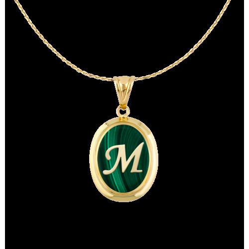 M Harfi Malakit Altın Kolye