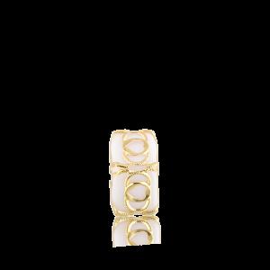 Altın Telkari Motifli Kalp Desenli Beyaz Küp Bodrum Nazarlığı