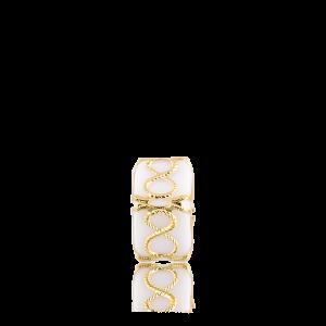 Altın Telkari Motifli Sonsuzluk Desenli Beyaz Küp Bodrum Nazarlığı