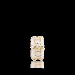 Altın Telkari Motifli Yuvarlak Desenli Beyaz Küp Bodrum Nazarlığı