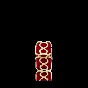 Altın Telkari Motifli Sonsuzluk Desenli Kırmızı Küp Bodrum Nazarlığı