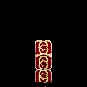 Altın Telkari Motifli Yıldız Desenli Kırmızı Küp Bodrum Nazarlığı
