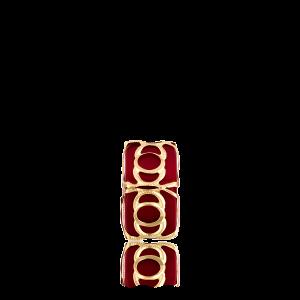 Altın Telkari Motifli Yuvarlak Desenli Kırmızı Küp Bodrum Nazarlığı