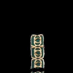 Altın Telkari Motifli Kalp Desenli Yeşil Küp Bodrum Nazarlığı