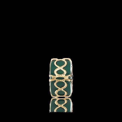 Altın Telkari Motifli Sonsuzluk Desenli Yeşil Küp Bodrum Nazarlığı