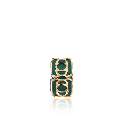 Altın Telkari Motifli Yuvarlak Desenli Yeşil Küp Bodrum Nazarlığı
