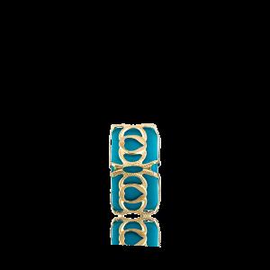 Altın Telkari Motifli Kalp Desenli Mavi Küp Bodrum Nazarlığı