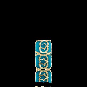 Altın Telkari Motifli Yıldız Desenli Mavi Küp Bodrum Nazarlığı