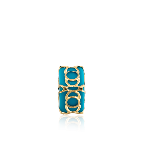 Altın Telkari Motifli Yuvarlak Desenli Mavi Küp Bodrum Nazarlığı