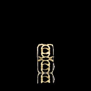 Altın Telkari Motifli Kalp Desenli Siyah Küp Bodrum Nazarlığı