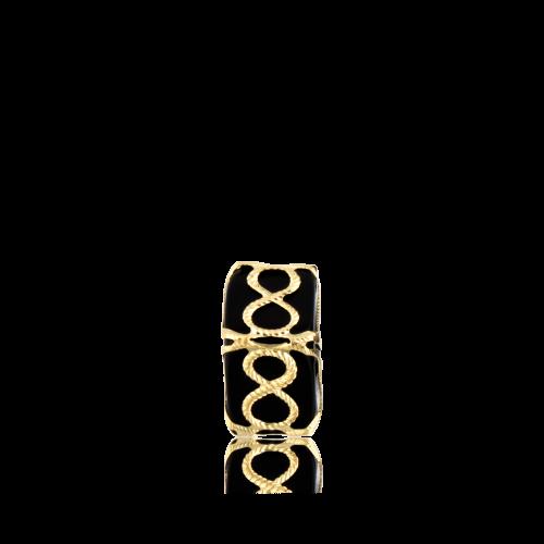 Altın Telkari Motifli Sonsuzluk Desenli Siyah Küp Bodrum Nazarlığı