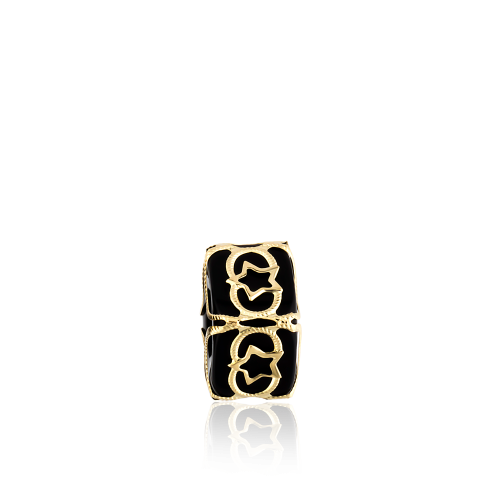Altın Telkari Motifli Yıldız Desenli Siyah Küp Bodrum Nazarlığı