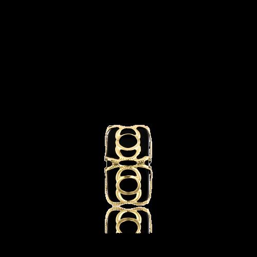Altın Telkari Motifli Yuvarlak Desenli Siyah Küp Bodrum Nazarlığı
