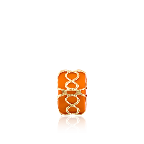 Altın Telkari Motifli Sonsuzluk Desenli Turuncu Küp Bodrum Nazarlığı