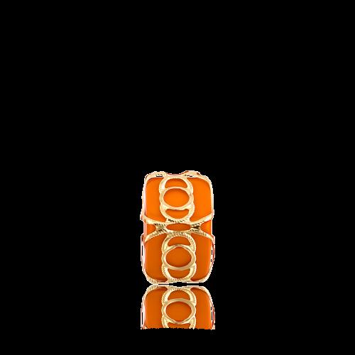Altın Telkari Motifli Yuvarlak Desenli Turuncu Küp Bodrum Nazarlığı