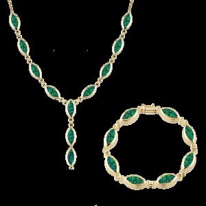 Altın Yeşil Opal İkili Set