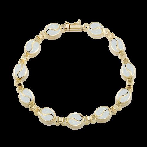 Altın S Desenli Opal Bileklik
