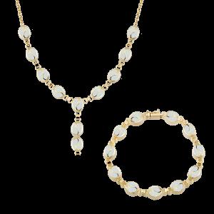 Altın S Desenli Opal İkili Set