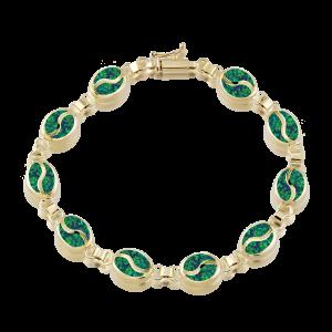 Altın S Desenli Yeşil Opal Bileklik