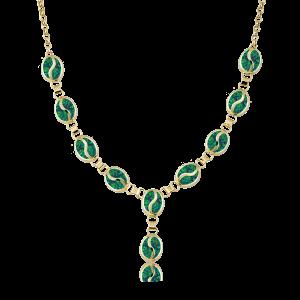 Altın S Desenli Yeşil Opal Boyunluk