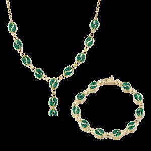 Altın S Desenli Yeşil Opal İkili Set