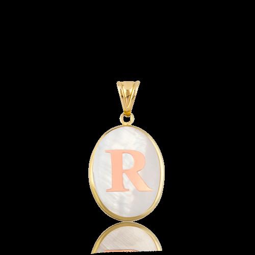 Kırmızı Altın Oval R Harfi Sedef Kolye Ucu