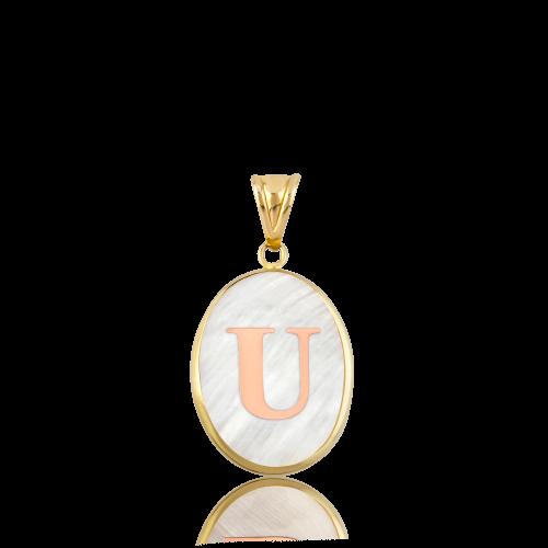 Kırmızı Altın Oval U Harfi Sedef Kolye Ucu