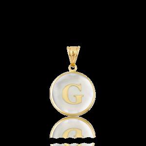 Altın G Harfi Sedef Kolye Ucu