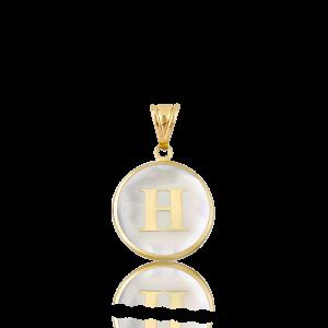Altın H Harfi Sedef Kolye Ucu