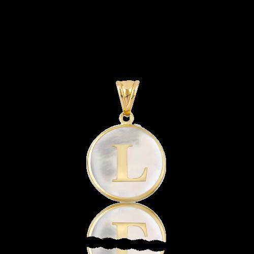 Altın L Harfi Sedef Kolye Ucu