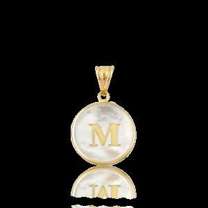Altın M Harfi Sedef Kolye Ucu