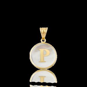 Altın P Harfi Sedef Kolye Ucu