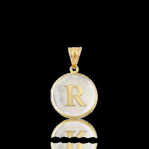 Altın R Harfi Sedef Kolye Ucu