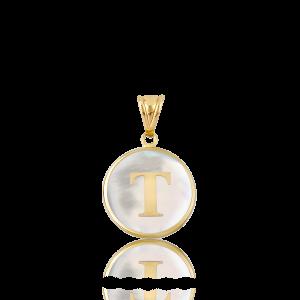 Altın T Harfi Sedef Kolye Ucu