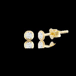 Altın 3 mm Sıvama Beyaz Renk Vidalı Küpe