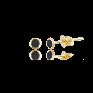 Altın 3 mm Sıvama Siyah Renk Vidalı Küpe