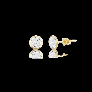 Altın 4 mm Sıvama Beyaz Renk Vidalı Küpe