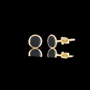 Altın 4 mm Sıvama Siyah Renk Vidalı Küpe