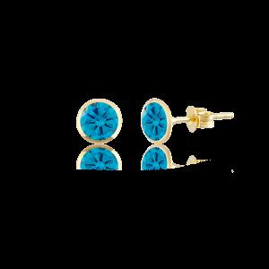 Altın 5 mm Sıvama Aqua Marine Renk Vidalı Küpe