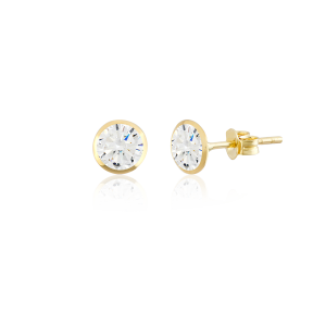 Altın 5 mm Sıvama Beyaz Renk Vidalı Küpe