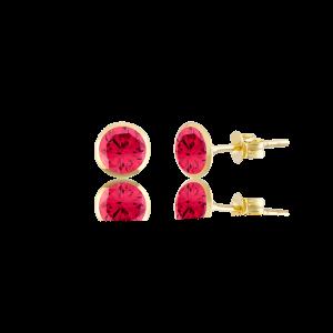 Altın 5 mm Sıvama Yakut Renk Vidalı Küpe