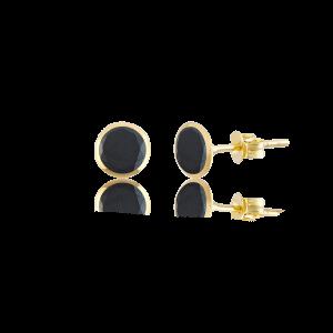 Altın 5 mm Sıvama Siyah Renk Vidalı Küpe