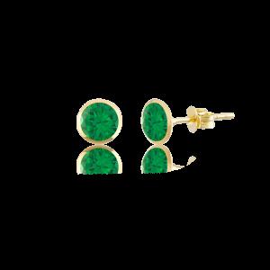 Altın 5 mm Sıvama Zümrüt Renk Vidalı Küpe